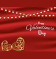valentines day conceptflags and gold heart shape vector image vector image