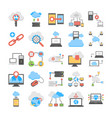 web hosting and cloud computing flat icons vector image vector image