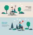 wheelchair tennis and basketball banner set vector image vector image