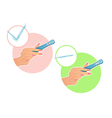 Womans hand holds a test on pregnancy vector image