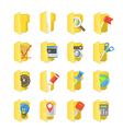Yellow folders collection with different content vector image vector image