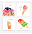 Ice cream watercolor icons composition banner vector image