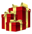 set red gift box with gold ribbon bow vector image