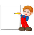 a kid writing letters vector image vector image