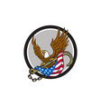 american eagle clutching towing j hook flag circle vector image vector image