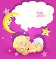 Baby shower pink card with sleeping newborn baby vector image vector image