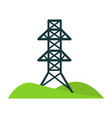 black tower for wires on piece of land with hills vector image vector image