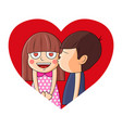 boy kissing girl on heartvalentine vector image