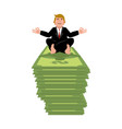 business yoga and money businessman meditating on vector image