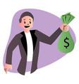 cartoon guy holding bag money on white