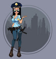 cartoon woman in the uniform of a policeman vector image vector image
