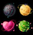 cartoon worlds set alien cheese plants vector image vector image