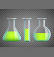 chemical laboratory flask with green liquid vector image