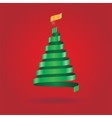 Christmas card with ribbon tree vector image vector image