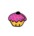 cupcake sweet food dessert isolated on white vector image vector image