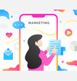digital marketing with mobile phone vector image vector image