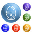 egg timer icons set