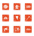fire danger icons set grunge style vector image vector image