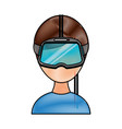 gamer with virtual reality glasses vector image vector image