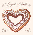 gingerbread heart gingerbread heart vector image