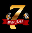 golden 7 years anniversary template with red vector image vector image