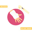 gypsum plaster bandaged hand red light therapy vector image