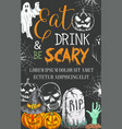 halloween party sketch spooky ghost poster vector image vector image