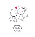 hand drawn bride and groom vector image vector image