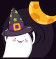 happy ghost with hat moon halloween vector image