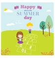 happy kids on summer background vector image vector image