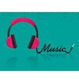 headphones forming the word music turquoise backgr vector image