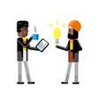 indian man holding idea light bulb vector image vector image