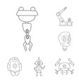 isolated object of robot and factory sign vector image vector image