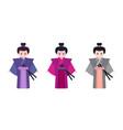 japanese men in kimono traditional clothing kimono vector image vector image