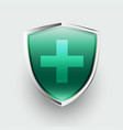 medical protection healthcare shield with cross vector image
