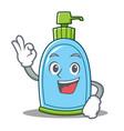 okay liquid soap character cartoon vector image