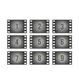 Old cinema film countdown movie frames with vector image
