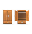 opened and closed wardrobe vector image