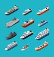 passenger and cargo ships sailing boats yachts vector image vector image