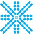 Pattern with blue arrows in snowflake form vector image