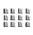 perspective company icons and line buildings set vector image vector image