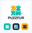 puzzle pieces furniture logo design logo vector image vector image