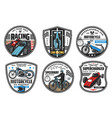 racing sport icons motocross speedway cars races vector image vector image