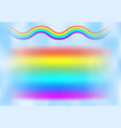 rainbow in the blue sky among the light clouds vector image vector image