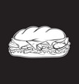 sandwich made in hand drawn realistic style vector image vector image