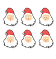 Santa Claus emotions set Christmas character vector image