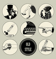 set round images in vintage engraving style vector image vector image