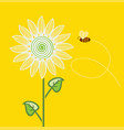 sunflower cartoon with flying bee on yellow vector image vector image