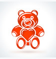 teddy bear with heart st valentines day design vector image