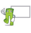 thumbs up with board pants character cartoon style vector image